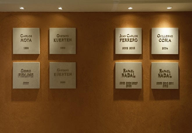 Winners of Rolex Masters Monte-Carlo over different years- wall with certificates
