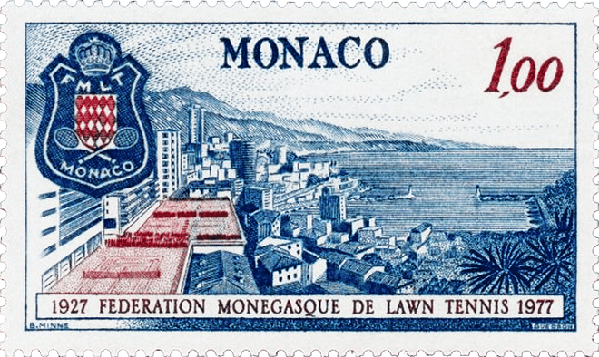 """Post stamp """"50 years of Monaco Tennis Federation"""", 1977"""