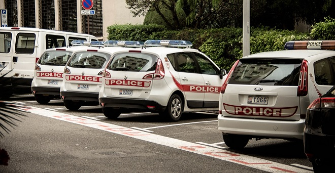 Police cars, parked on the streets of Monaco