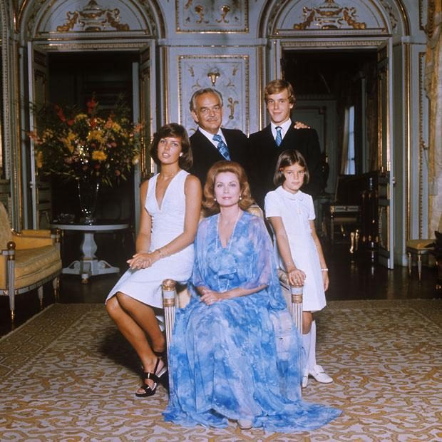 Prince Rainier III, Grace Kelly and their children in the Palace