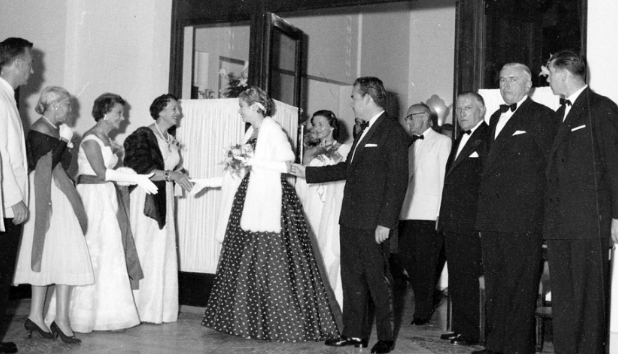 Prince Rainier III and Grace Kelly at the Red Cross Ball in 1957
