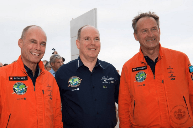 Prince Albert II with Bertrand Picard  and Andre Borshberg