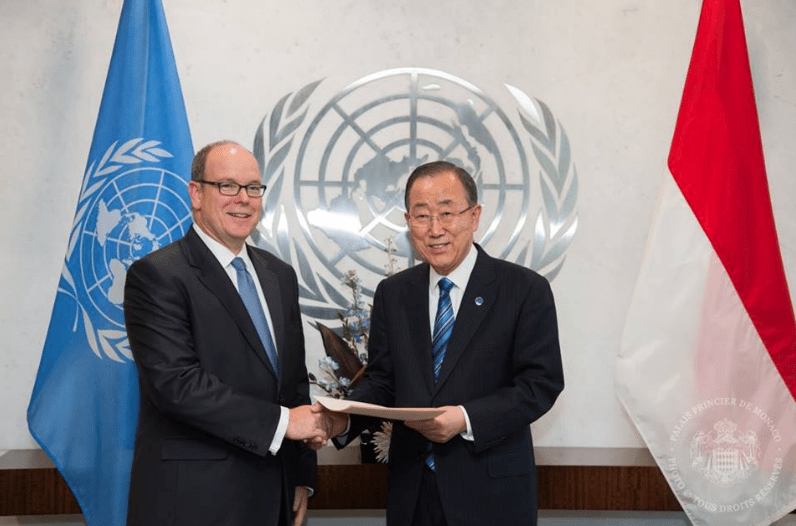 Prince Albert II of Monaco was welcomed to the United Nations Headquarters
