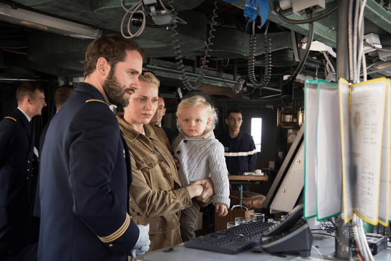 "Princess Charlene and Hereditary Prince Jacques on the Frigate of the French National Navy ""Le Guépratte"""