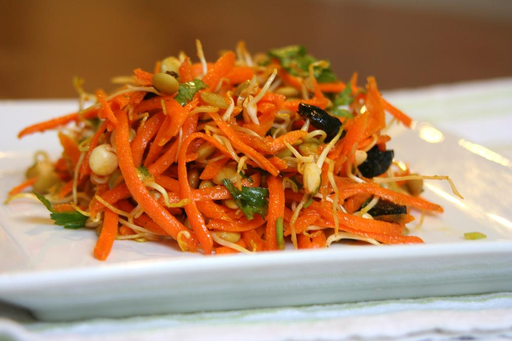 Sprouts and Veggies with Tahini Dressing