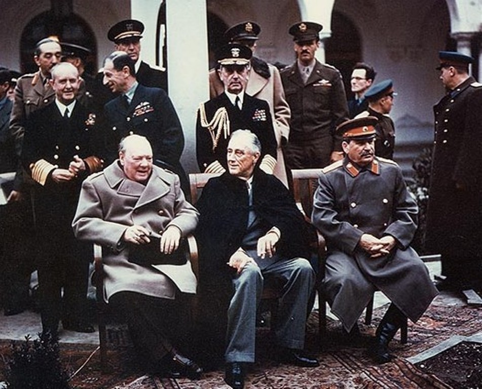 Churchill at the Yalta conference in February 1945