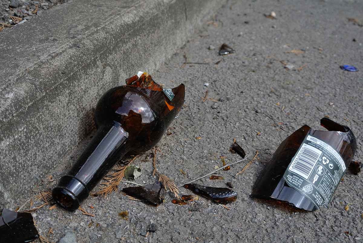 broken beer bottle