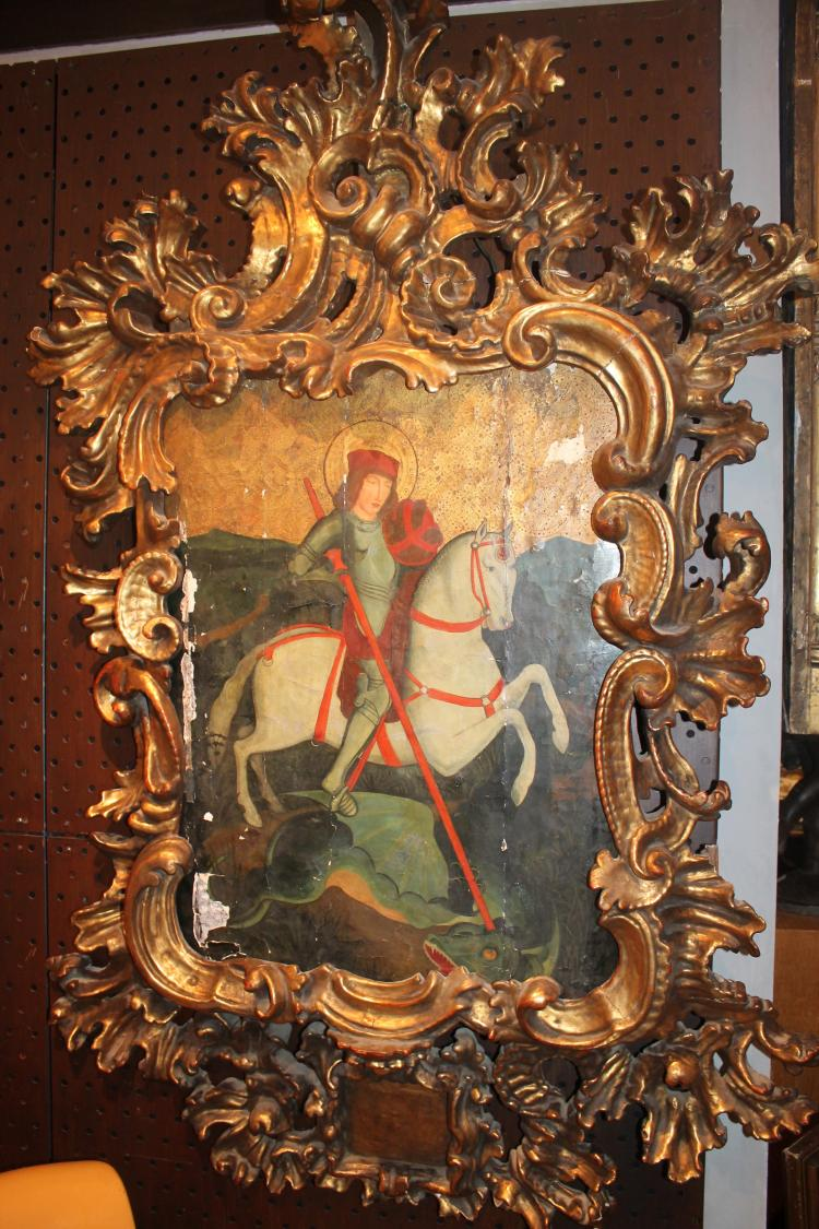 Saint George slaying the dragon painting