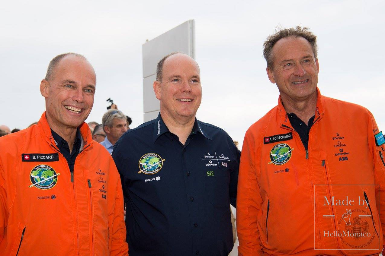 Prince Albert II with Bertrand Piccard and André Borschberg
