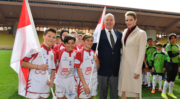 Prince Albert Princess Charlene Sainte Devote Rugby Tournament in Monaco.