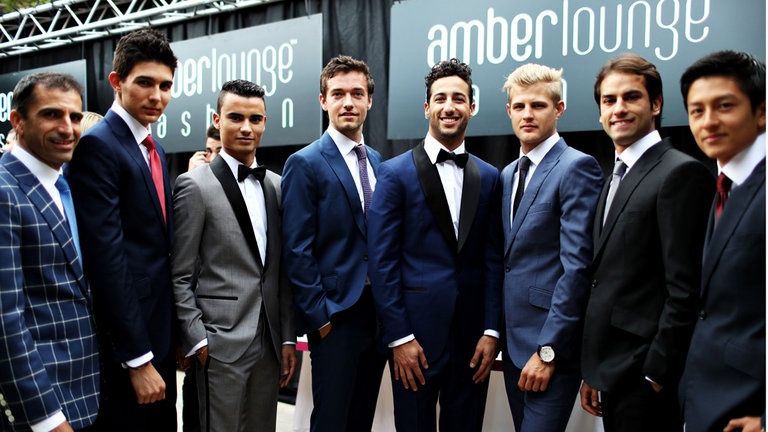 Seven F1 drivers in a fashion show
