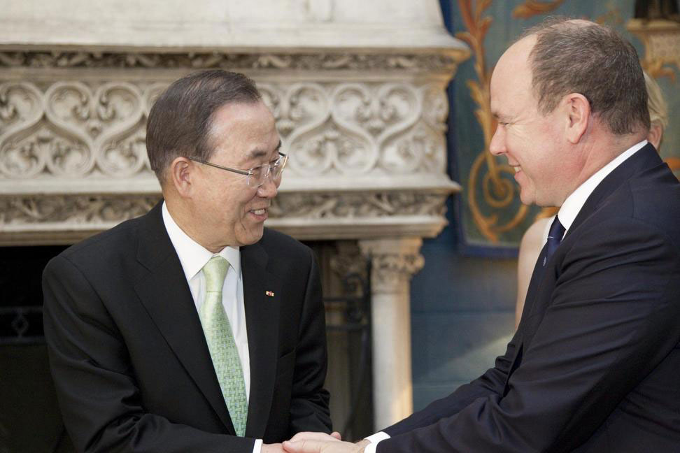 Prince Albert II and Ban Ki-moon