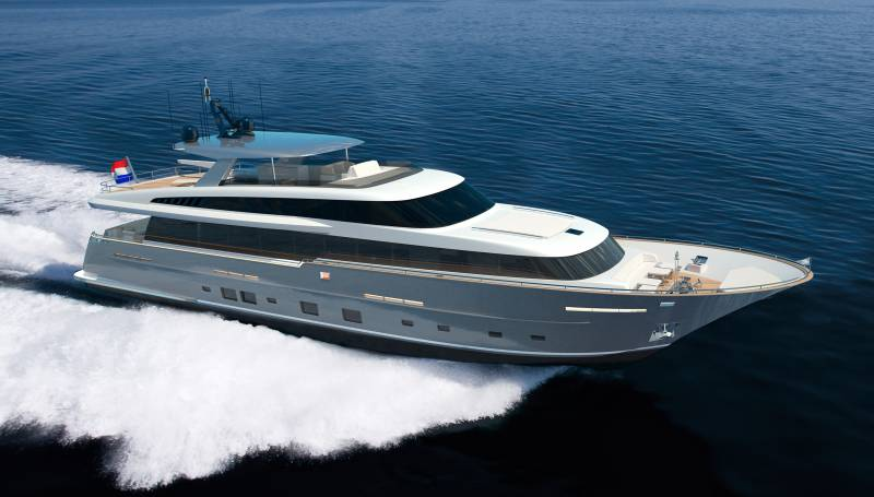 Construction of 32-metre superyacht by Van Der Valk for repeat client