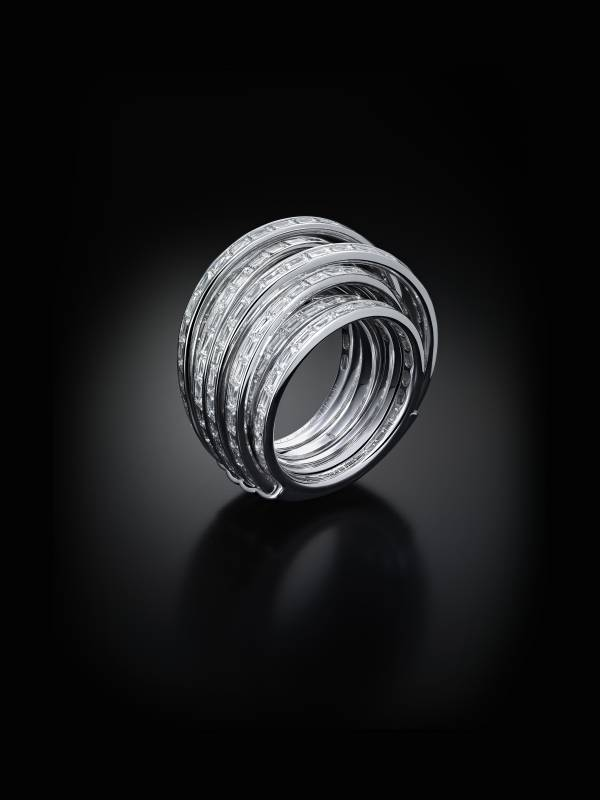 Allegra Rings, Or gris, Diamants baguettes