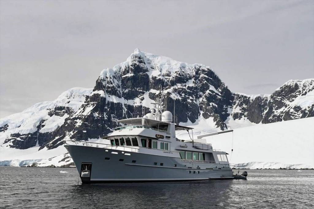 29m Vripack explorer yacht Gayle Force drifting to the edge of the world and further