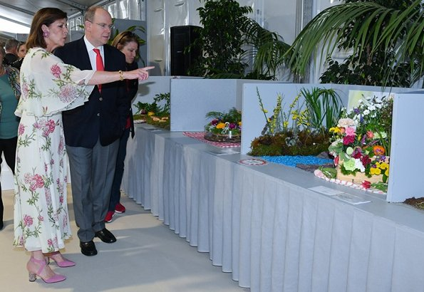 Princess Caroline and Prince Albert at the Bouquet Competition
