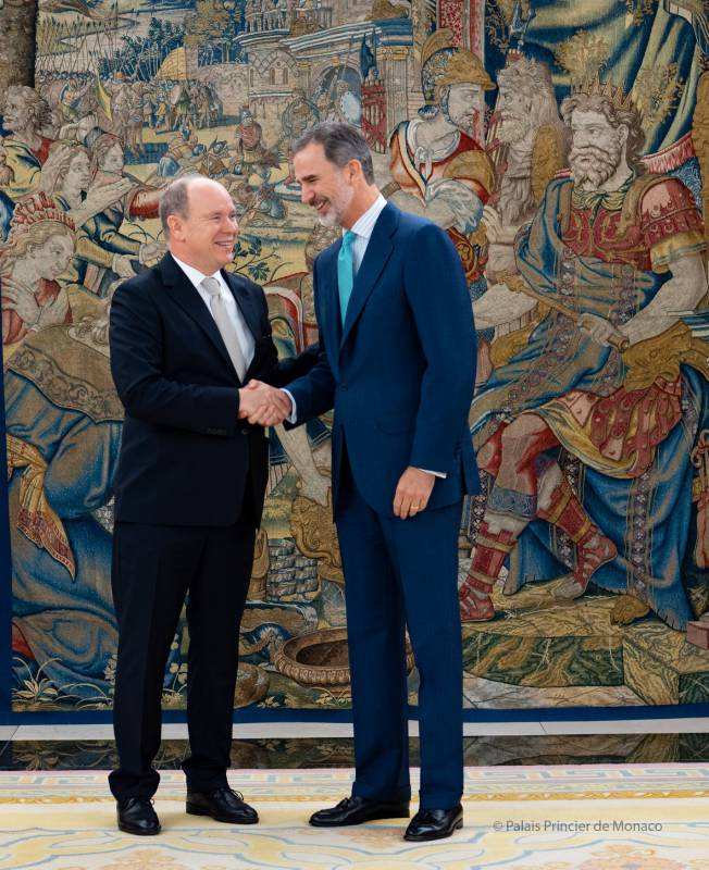 Audience between Prince Albert II and King Felipe VI at the Palace of Zarzuela