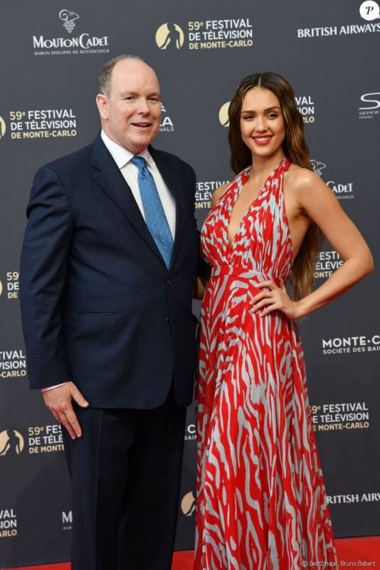 Jessica Alba and Prince Albert attend 59th Monte-Carlo Television Festival