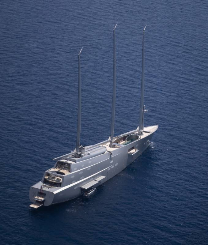 Russian billionaire's 143m sailing yacht A spotted in Monaco harbour