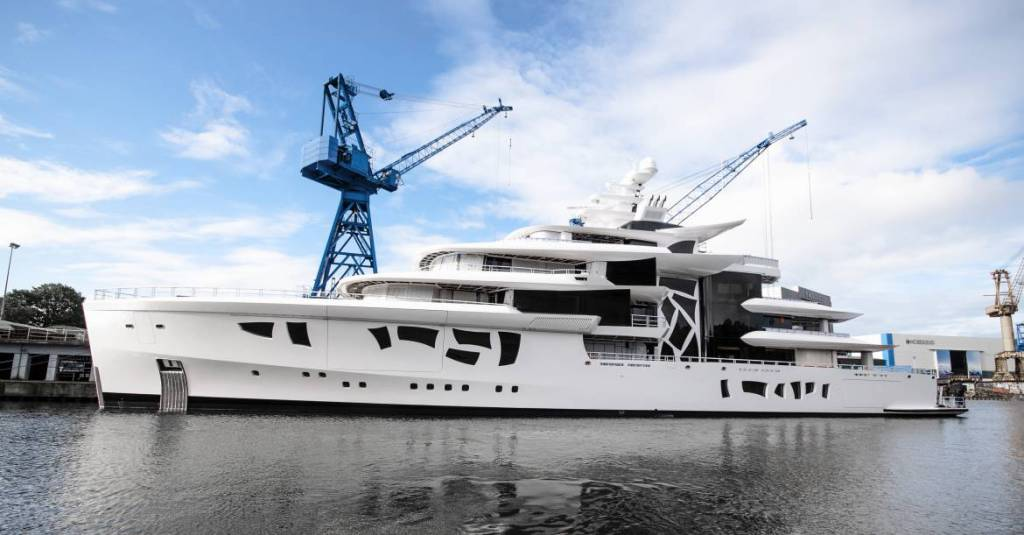 80m hybrid superyacht Artefact launched by Nobiskrug