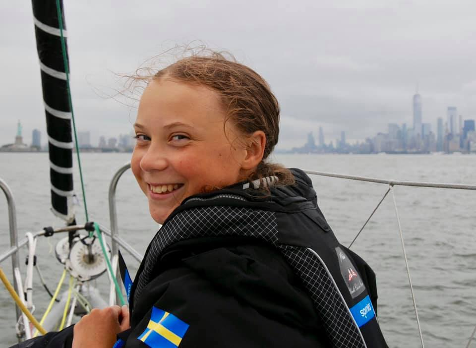 The Statue of Liberty Greets Greta Thunberg as she Braves the Waves In Malizia II with Pierre Casiraghi to Save the Planet