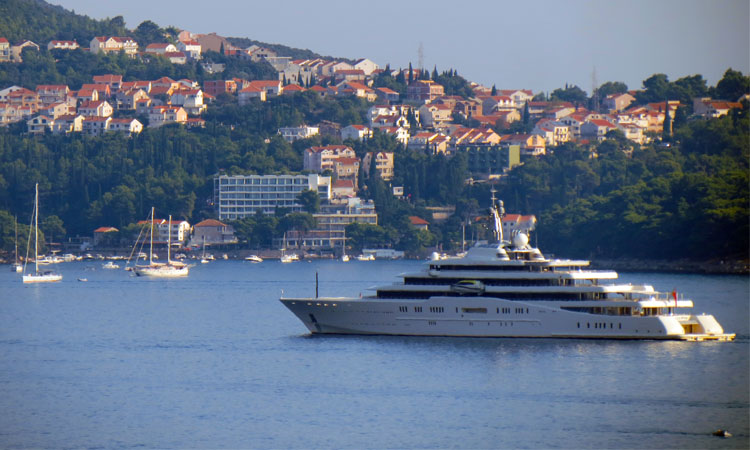 The world's third largest 163m superyacht Eclipse anchored in Cavtat