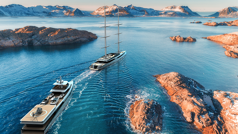 Twin superyacht design: 88m S/Y Lotus paired with 70m companion vessel