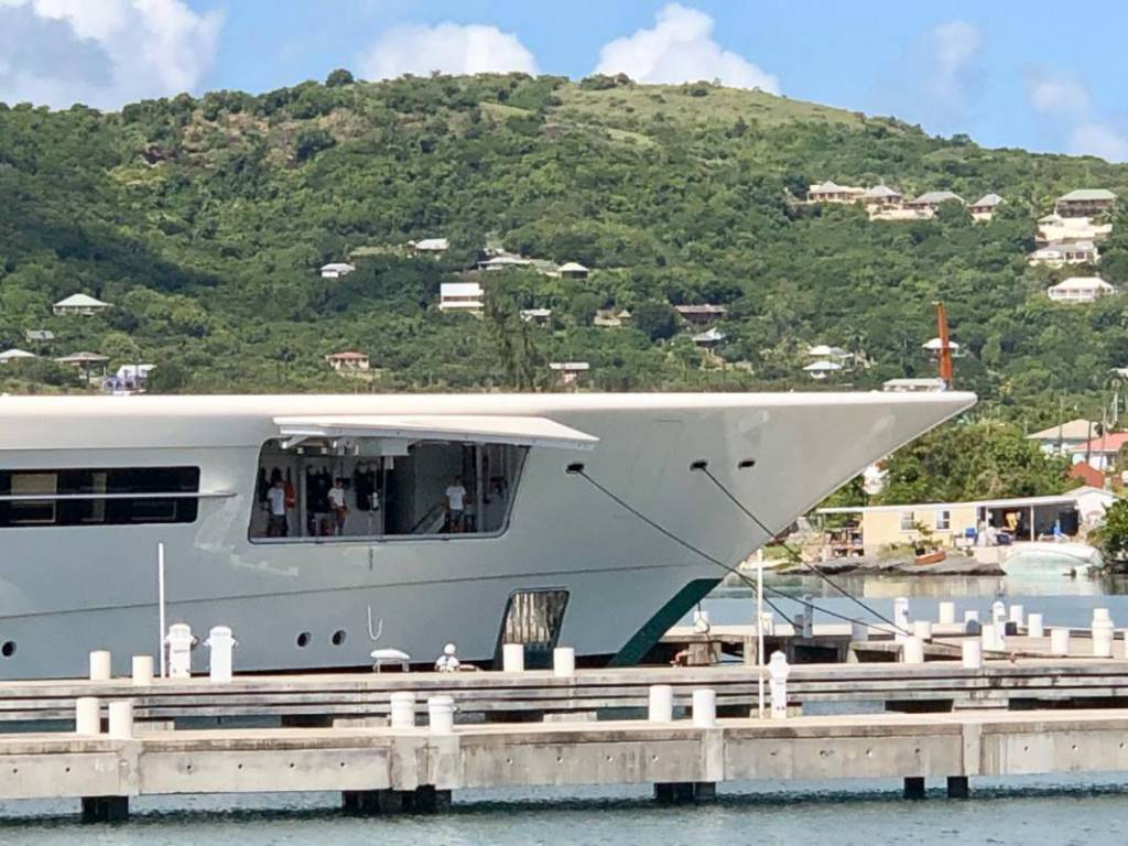 110m Feadship superyacht Anna lowering tenders in Antigua