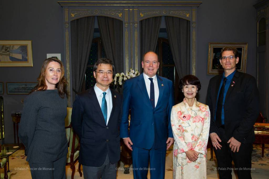 Prince Albert and Princess Takamado attend Alain Ducasse's restaurant in Tokyo