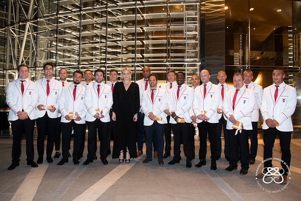 Princess Charlene congratulates Impi Rugby Team in Dubai