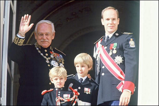 Prince Rainier, Prince Albert , Pierre and his brother Andrea in 1992