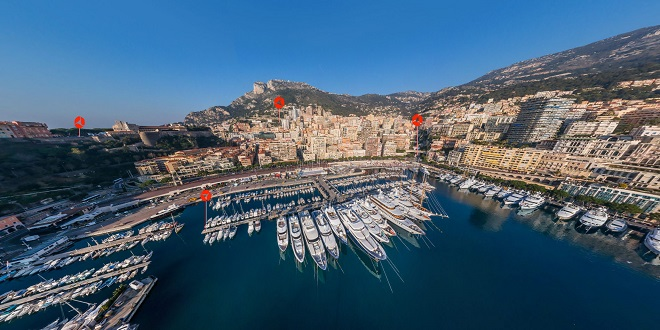 Helicopter view of Monaco port
