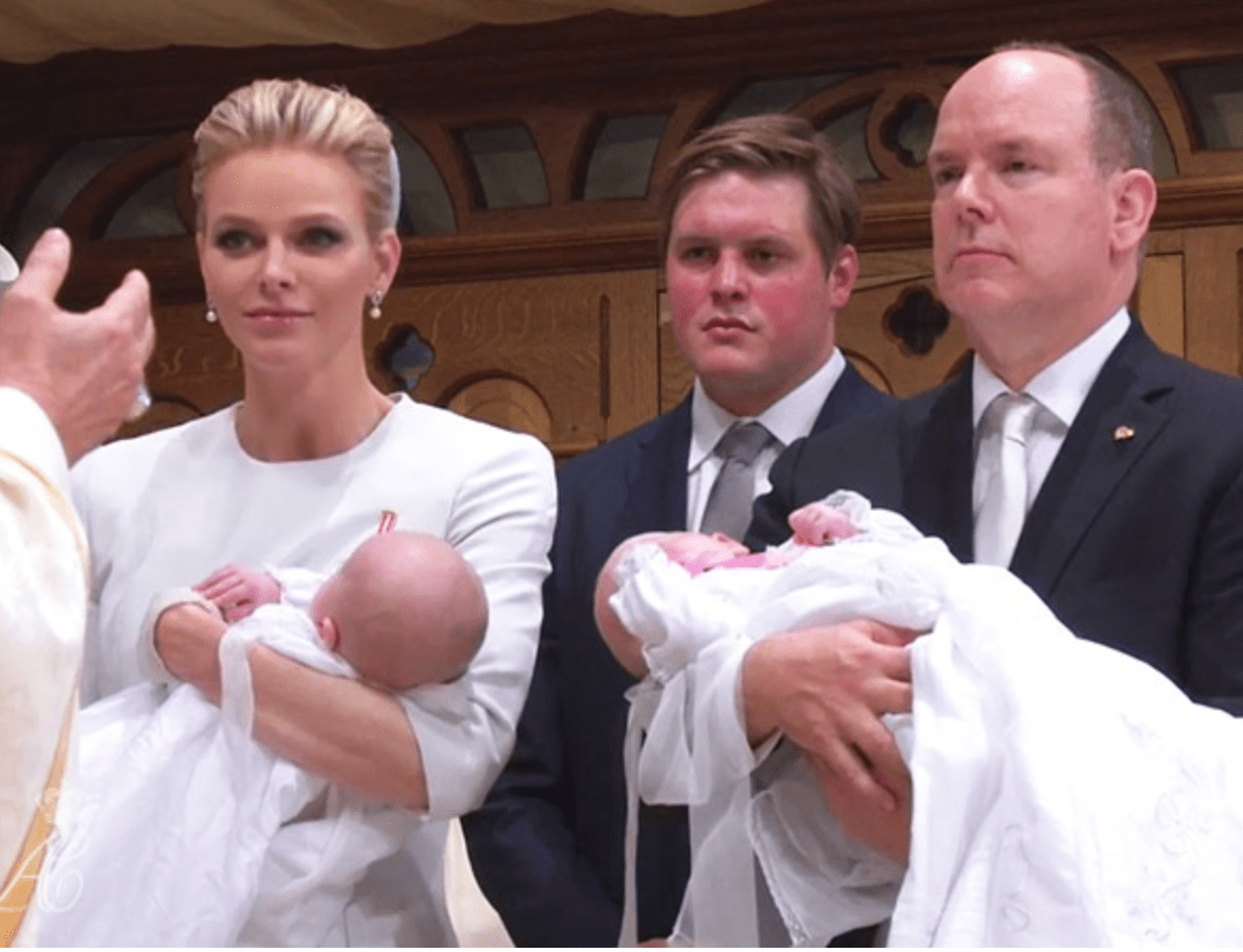 Prince Albert II and Princess Charlene with the twins