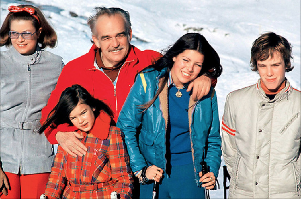 Prince Rainier III, Princess of Monaco Grace Kelly, their children, Albert, Caroline and Stephanie