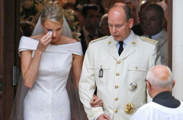 Princess Charlene at the wedding, crying