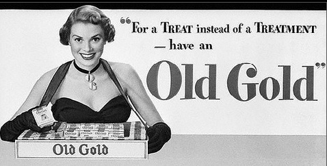 "Grace Kelly in the advertising of the cigarettes ""Old Gold"""