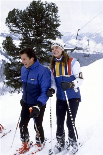 Caroline and her husband Philippe skiing in the mountains