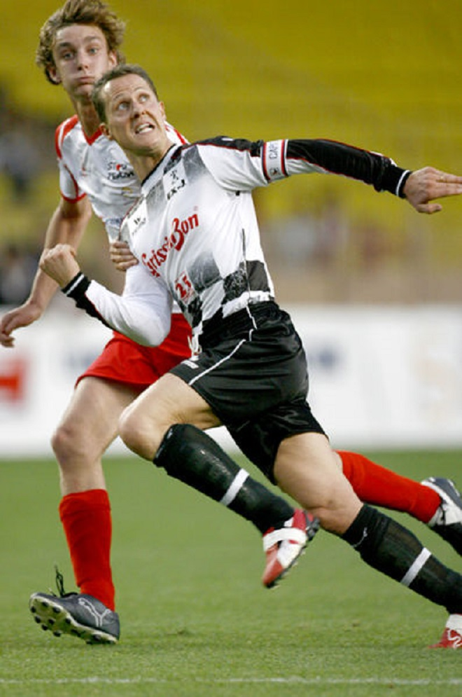 Prince Pierre playing football against Schumacher