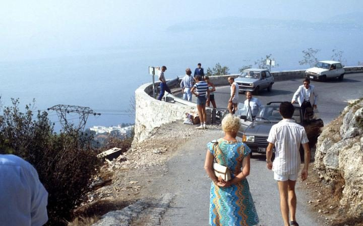 tourist visit the place of the crash of Princess Grace's car