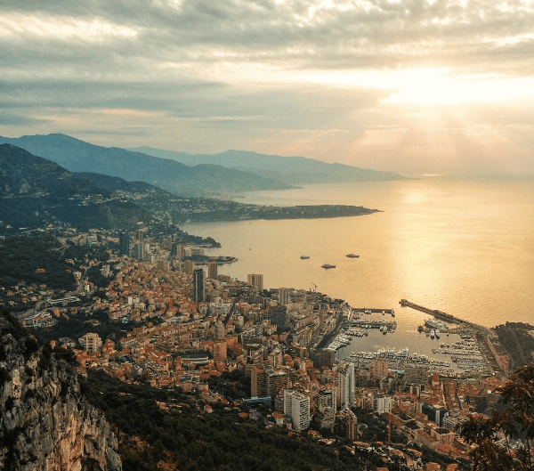 Panoramic view on Monaco from la Tete de Chien