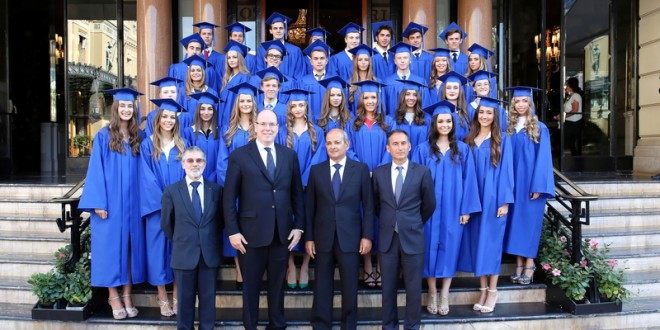 Graduates of Monaco schools with Prince Albert II