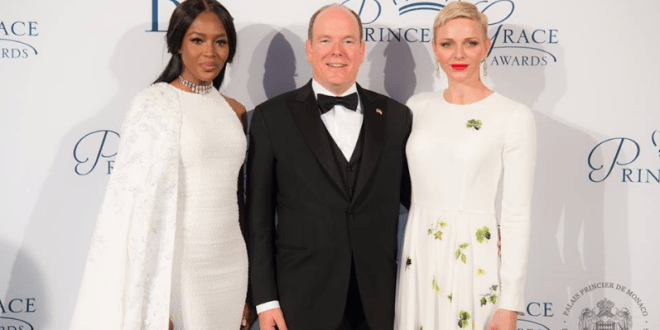 Princess Grace Awards - Naomi Campbell with prince Albert II and Princess Charlene