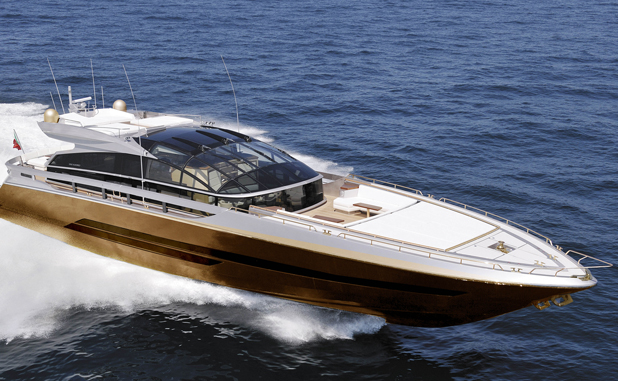 Golden 30-meter yacht