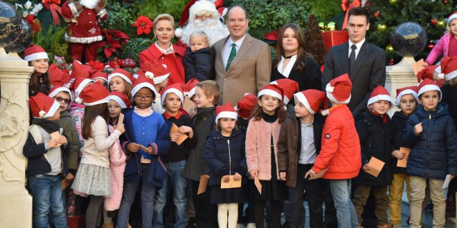 Prince Albert and his family distributing Christmas gifts