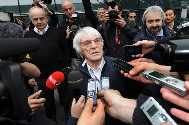 Bernie Ecclestone with media