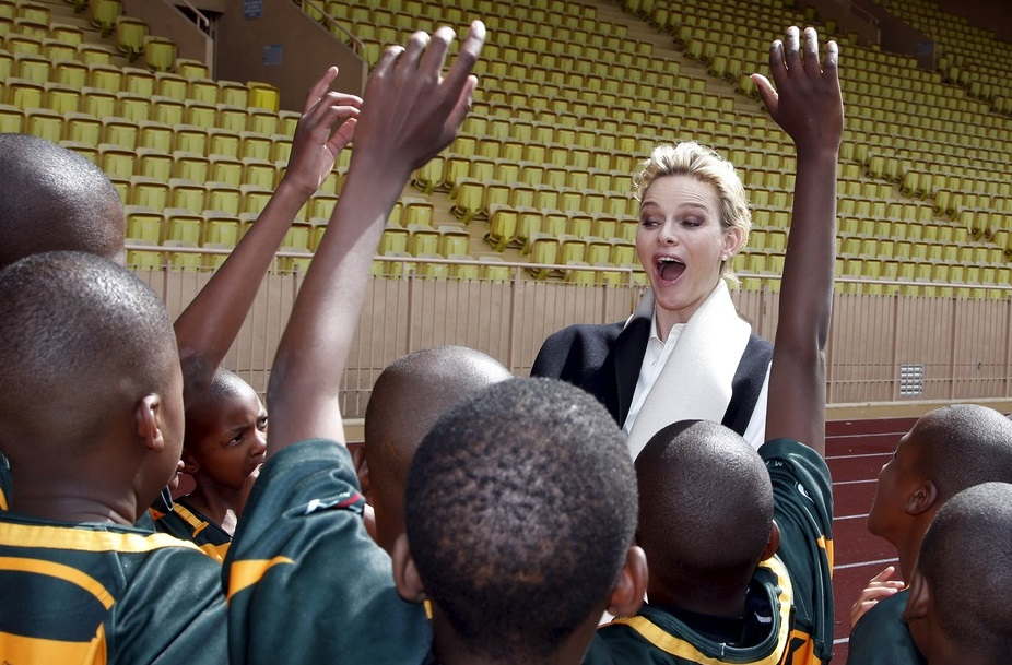 Princess Charlene at Sainte Dévote's rugby tournament