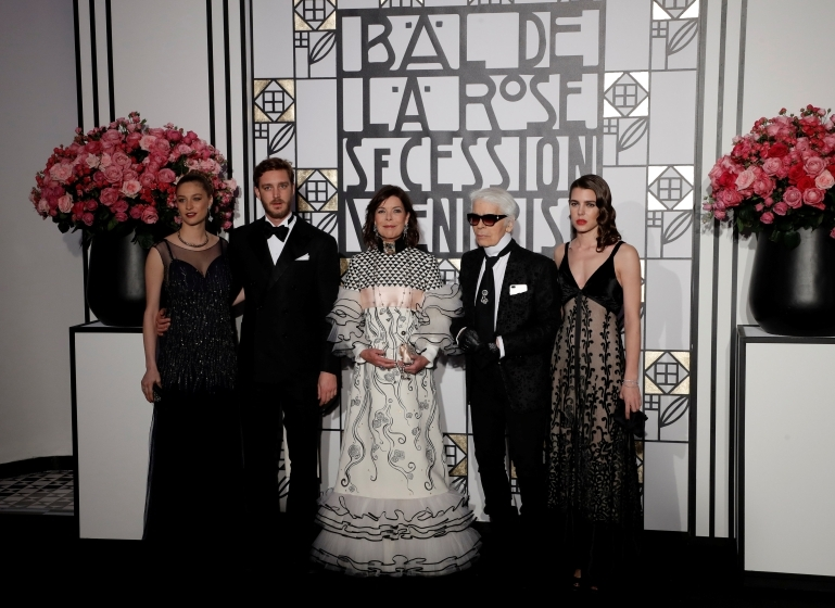 Beatrice Borromeo, Pierre Casiraghi, Princess Caroline, Karl Lagerfeld, Charlotte Casiraghi