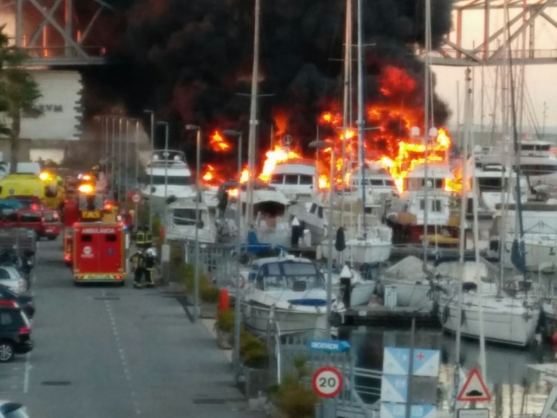 Fire at Port Forum Barcelona