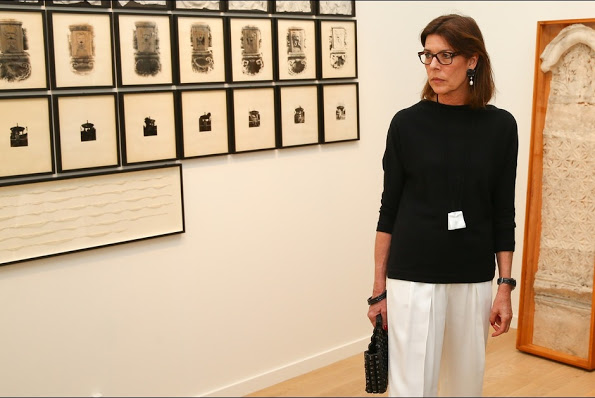 Princess Caroline of Monaco visits art exhibition at the Villa Sauber