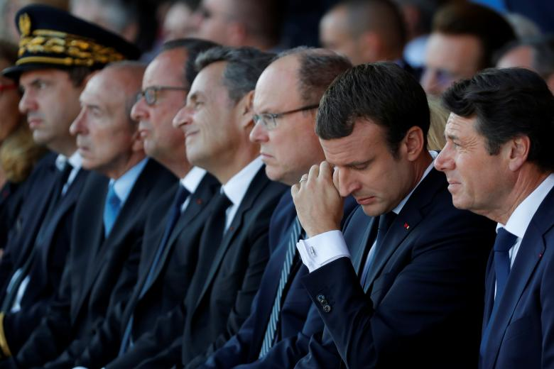 French President Emmanuel Macron (2nd R) next to Nice's mayor Christian Estrosi, Prince Albert II of Monaco and former French presidents Francois Hollande and Nicolas Sarkozy, during the commemorative ceremony. REUTERS/Eric Gaillard